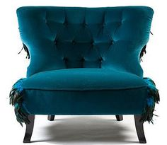 Peacock Feather and Velvet Upholstery