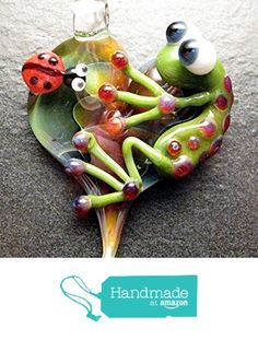 Adorable Ladybug Frog pendant - glass heart lampwork jewelry pendant focal bead necklace - Boomwire Glass jewelry from Boomwire https://www.amazon.com/dp/B016FST2VS/ref=hnd_sw_r_pi_awdo_7.gjxb3QX2QYB #handmadeatamazon