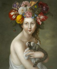 """""""There is a mad enchantment that possess the heart and mind when confronted by the possibilities glimpsed through visions of beauty and love…"""" Santa Fe artist Fatima Ronquillo has created a body of… Collages, Dainty Doll, Fantasy Paintings, Portrait Paintings, Abstract Portrait, Painting Abstract, Acrylic Paintings, Art Paintings, Portraits"""