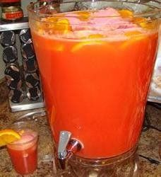 Family Easy Party Punch -- We make it for all our family gatherings!  Ingredients  1 (2 liter) bottle fruit punch, chilled 1 (64 fluid ounce) bottle orange juice, chilled 1 (2 liter) bottle ginger ale, chilled 5 oranges sliced Instructions  In a punch bowl, combine fruit punch and orange juice. Slowly pour ginger ale down the side of the bowl to retain carbonation. Add sliced oranges for garnish.