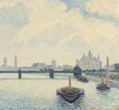 "Camille Pissarro (1830-1903) ~ ""Londres, Le Pont de Charing-Cross"", 1890 (Détail) ~ Huile sur Toile 60 x 90cm pour l'original ~ National Gallery of Art, Washington"