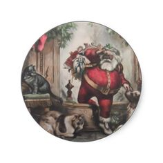 Christmas Mailing Stickers   Add a special Christmas seal to your Christmas mailings. A lovely vintage illustraion of Santa deliveri...