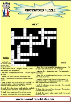Learn French meats with this free printable crossword puzzle www. French Teacher, French Class, French Lessons, Learning Cards, Ways Of Learning, Learning French, Free Printable Crossword Puzzles, Free Printables, Rocket French