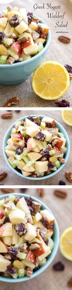 This spin on the classic Waldorf Salad uses Greek yogurt instead of mayonnaise, lemon juice, and a couple other additional ingredients to give it a fresh new flavor. | www.alattefood.com/