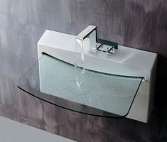 Modern Bathroom Sink Design Supported with Stylish Faucet Pictures Glass Bathroom Sink, Bathroom Sink Design, Glass Sink, Glass Bowls, Bathroom Fixtures, Bathroom Vanities, Bathroom Designs, Contemporary Bathroom Sinks, Modern Sink