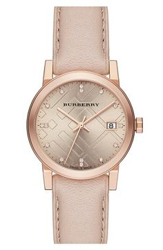 Burberry Round Diamond Dial Leather Strap Watch, 34mm available at #Nordstrom