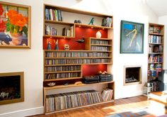 CD storage - Wonder if this could be replicated as a free-standing piece  http://www.mccormackjoinery.co.uk/Walnut-Shelves