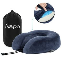 Naipo Travel Pillow Memory Foam Neck Cushion Pillow Neck Head Chin Support Rest U Shape Gel Pillow with Washable Velour Cover And Travel Bag for Airplane Car Train Office Use Blue