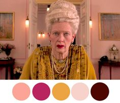 / color palette of wes anderson / Wes Anderson Style, Wes Anderson Movies, Movie Color Palette, Colour Pallette, Wes Anderson Color Palette, Cinema Colours, Color In Film, Color Script, Grand Budapest Hotel