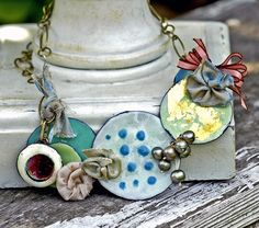 Gleaming Curiosities Enameled Necklace - Golightly - Sample Sale. $125.00, via Etsy.