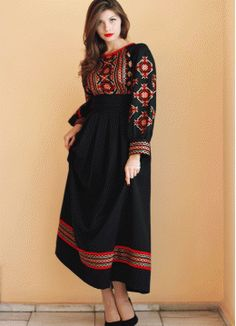 Elegant black dress with red and gold embroidery PL-770264