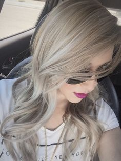 Blonde hair with multidimensional ash highlights. Ash base with white highlights and little bayalage. Going purple next! (ash blonde balayage with purple) Ash Blonde Hair, Platinum Blonde, Wavy Hair, Brown Hair, Hair Color And Cut, Super Hair, Blonde Highlights, Balayage Hair, Ombre Hair