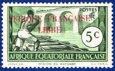French Equatorial Africa 84 Stamp - Logging on Loeme River Stamp - AF FEA 84-1 HR
