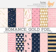 ROMANCE digital paper. Gold Foil / Navy / Pink / Cream / Watercolor Texture Paper. Free Matching Website Tiles. Valentines Day Paper Pattern