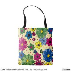 Cute Yellow with Colorful Floral Tote Bag