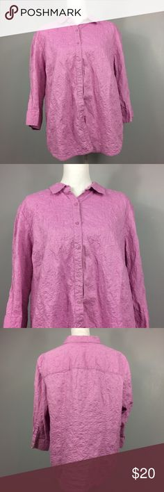 "Charter Club Pink Purple Textured Button Down 22W Charter Club Pink Purple Textured Button Down 3/4 Sleeve Womens Plus Size 22W  Feel free to make an offer or bundle your likes and I'll send you an offer!   Measurements are laying flat • Underarm to underarm 23"" • Length 27"" from shoulder to hem  Condition Description: Gently used  Inventory #W13  Please check out my other items for more sizes and styles! Charter Club Tops Button Down Shirts"