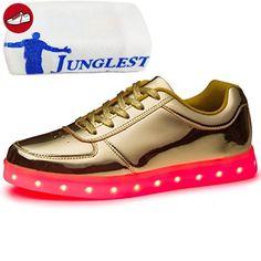 (Present:kleines Handtuch)Klettband Weiß High-Top EU 43, JUNGLEST® Sport Aufladen für Farbe mode Unisex-Erwachsene Sneaker USB Damen Herren Schuhe LED 7 Turnsc