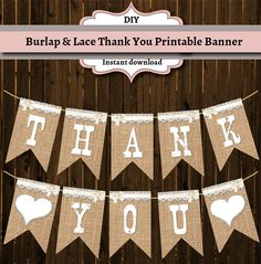 Thank You Burlap and Lace by GooseCornerGreetings on Etsy, $5.00