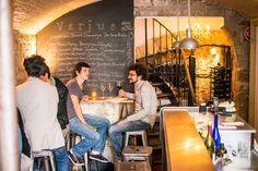Verjus' basement wine bar in Paris. Loved sipping Sancerre here w/the boyfriend. :)
