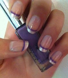 Purple French Manicure Designs | Purple stripe French tip nails(: | nail ideas:) Nail Design, Nail Art, Nail Salon, Irvine, Newport Beach