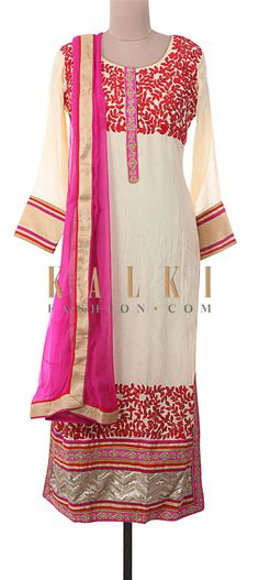 Buy Online from the link below. We ship worldwide (Free Shipping over US$100) http://www.kalkifashion.com/cream-semi-stitched-suit-embellished-in-resham-embroidery-and-kardana-only-on-kalki.html