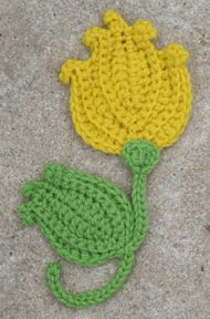 Tulip crochet applique from Suzann Thompson's book, Crochet Garden. @ Af's  28/1/13
