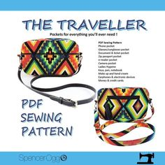 Bag sewing pattern - The Traveller Cross-body multi-pocket Purse pattern. Purse Patterns and tutorials Bag Patterns To Sew, Pdf Sewing Patterns, Pocket Cross, Sewing Hacks, Sewing Projects, Sewing Tips, Sewing Tutorials, Sewing Ideas, Sewing Crafts