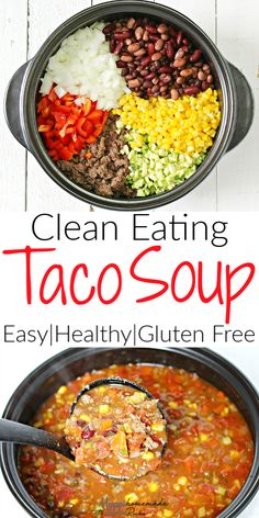 Simply the BEST Taco Soup - an easy, healthy, & gluten free stove top (or crock pot) meal that uses ground turkey (bison, beef, or venison) along with tons of clean eating vegetables and pantry items like canned beans. The option to use homemade ranch and Clean Eating Pizza, Clean Eating Soup, Easy Clean Eating Recipes, Clean Eating Meal Plan, Quick Easy Healthy Dinner, Simple Clean Meals, Clean Dinners, Clean Eating Recipes For Dinner, Beef Recipes