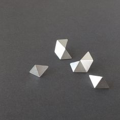 Set of 4 Stud Silver Earrings, Geometric Stud Earrings Set, Minimalist Silver Earrings, Small Pentagon Stud, Statement Silver Earrings