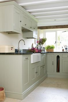 green kitchen cabinets marble worktop - Google Search
