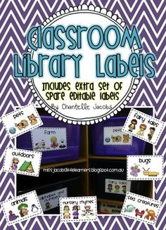 42 different labels for your library baskets/buckets. Cute designs, thistle girl graphics and scrapping doodles. Classroom Library Labels, Kindergarten Classroom Management, Classroom Board, Kindergarten Literacy, Future Classroom, Classroom Organization, Classroom Decor, Teaching Reading, Teaching Tools