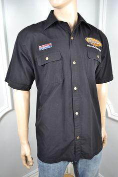 VINTAGE OFFICIAL HONDA BLACK POLYCOTTON SHORT SLEEVED SHIRT XL 46 REGULAR