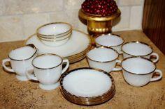 Vtg Anchor Hocking Milk Glass 22K Gold Trim 17 Piece w Sugar & Creamer @The Score #vintage #etsy #kitchen #fireking http://r.ebay.com/kP2GW8