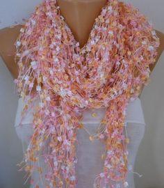 Pink Crochet ScarfWedding AccessoriesFormal Shawl Cowl Scarf