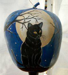 hand-painted Black Cat Apple gourd