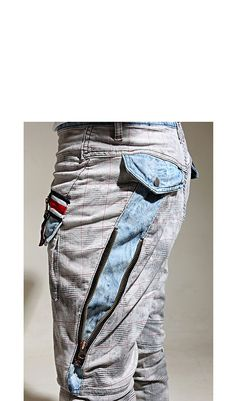 Bottoms :: Zippered Checkered Slim Baggy-Pants 33 - Mens Fashion Clothing For An Attractive Guy Look