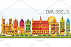 Brussels Skyline Graphics Brussels Skyline with Color Buildings and Blue Sky. Vector Illustration. Business Travel and Tourism by Igor Sorokin