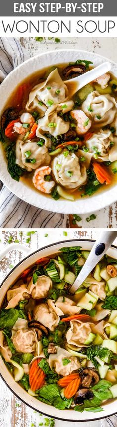 This easy (Step by Step) Wonton Soup is better than your favorite restaurant with most flavorful, juicy, wontons you have to taste to belie. Soup Recipes, Dinner Recipes, Cooking Recipes, Lasagna Recipes, Icing Recipes, Rib Recipes, Pudding Recipes, Sausage Recipes, Steak Recipes