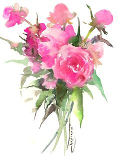 Pink Peonies, original floral pink art, bright pink wall painting 12 x 9 in by ORIGINALONLY on Etsy