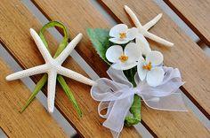 Starfish Boutonniere & Seashell Hydrangea Corsage  Seashell Flower Bouquets handmade in Newport, RI by Seashells In Bloom.  Ideal seashell bridal bouquets for beach themed weddings & destination weddings.