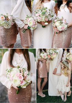 2015 Wedding Trends - Sequined and Metallic Bridesmaid Dresses - Deer Pearl Flowers Metallic Bridesmaid Dresses, Sparkly Bridesmaids, Bridesmaids And Groomsmen, Wedding Bridesmaids, Wedding Attire, Wedding Dresses, 2015 Wedding Trends, Aisle Style, Whimsical Wedding