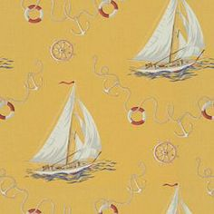 INLET VIEW - YELLOW. Image: Calico Corners. #fabric #yellow #sailboats