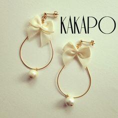 Ribbon loop White pierce (NO.1907) by KAKAPO