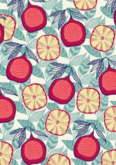 Drawing These drawings have been produced for my fruit inspired projects and have been transformed from their muji 0.38 fine liner pen illustrations into colourful hand screen printed pattern design.