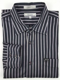 6b7a8344c10d58 Façonnable Shirt XL Black Mens Striped Multicolor Size Cotton Sz Purple  Silver  Faonnable  ButtonFront