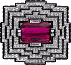 Cartier High Jewelry brooch White gold, rubellites, black lacquer, diamonds (=)