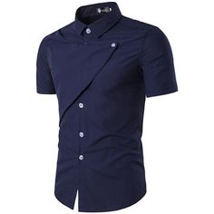 Summer Slim Fit Short Sleeves Solid Color Turn Down Collar Dress Shirt for Men