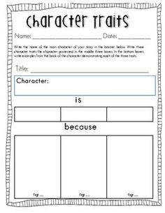 Printables Identifying Character Traits Worksheet character traits map great one also has a page full trait analysis for guided reading