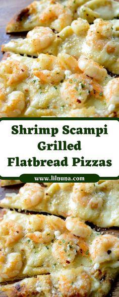 Dinner Recipes Shrimp Scampi Grilled Flatbread Pizzas The soil. Shrimp Pizza, Seafood Pizza, Grilled Shrimp, Grilled Meat, Grilled Flatbread Pizza, Flatbread Pizza Recipes, Scampi, White Pizza Recipes, Dinner Recipes