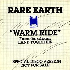 """Rare Earth Warm Ride 1978 USA 12"""" vinyl PR-37: RARE EARTH Warm Ride (1978 US white title label promotional vinyl 12 featuring the same 6:41…"""